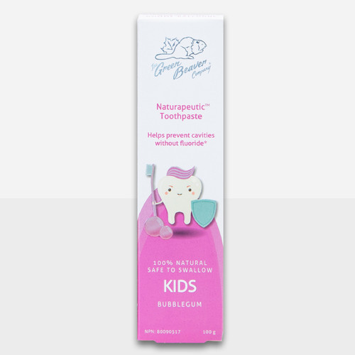 Green Beaver Naturapeutic Kids Toothpaste is made with natural xylitol and 100% natural and safe to swallow.