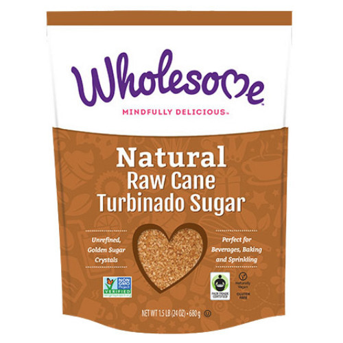 Wholesome Natural Raw Cane Turbinado Sugar is high-quality natural sugar that is unrefined.