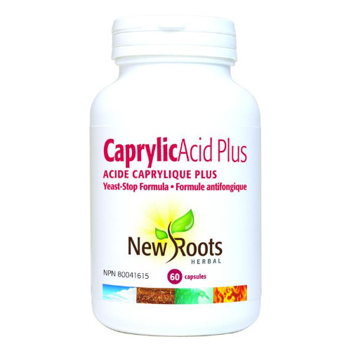 New Roots Caprylic Acid Plus Yeast Stop Formula for reducing candida levels in your body, supports a healthy digestive system.  60 caps.