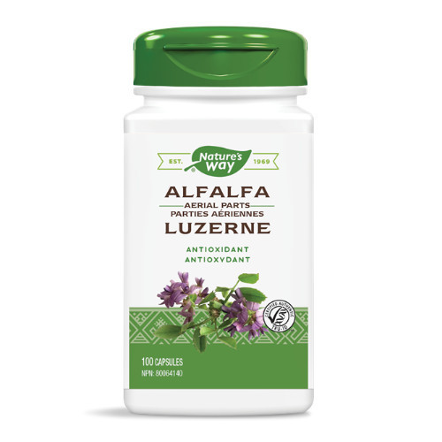 Nature's Way Alfalfa rich in vitamins and minerals helps to heal liver disorders, high blood pressure, eczema, constipation, breath and body odour, burns and more.  100 caps.