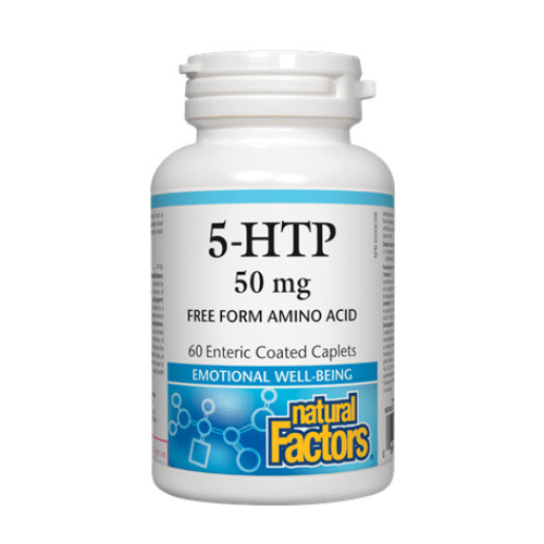 Natural Factors 5-HTP for relief of Fibromyalgia symptoms, to help with depression and emotional state, promotes sleep, and helps with appetite for weight reduction.  50 mg, 60 caplets.