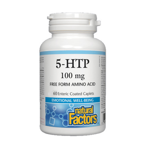 Natural Factors 5-HTP for relief of Fibromyalgia symptoms, to help with depression and emotional state, promotes sleep, and helps with appetite for weight reduction.  100 mg, 60 caplets.