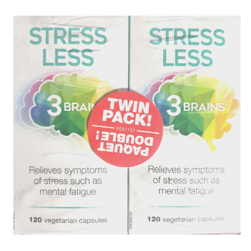 3 brains stress less twin pack 240 veg caps