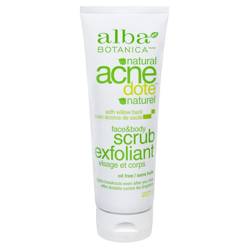 Alba Botanica Natural Acendote with Willow Bark Face & Body Scrub 227 grams