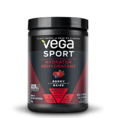 Vega Sport Electrolyte Hydrator in a berry flavour for replenish your electrolytes, minerals and antioxidants after a workout or even throughout the day.  148 grams. NEW LOOK