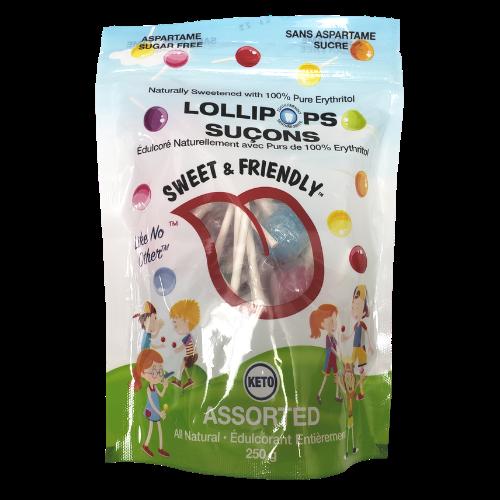 Sweet & Friendly Lollipops assorted 250grams no sugar