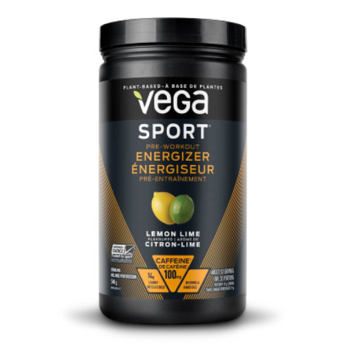 Vega Sport Pre-workout Energizer to increase energy, endurance and mental focus during a workout.  Lemon lime flavor.  540 grams. NEW LOOK