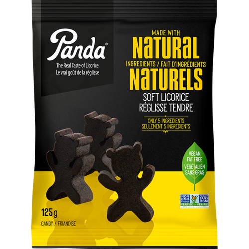Panda Black Licorice Natural Ingredients Bear Shaped 125 grams