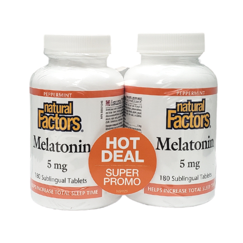 Natural Factors Melatonin 5 mg Super Promo Shrinkwrap 2 x 180 tablets