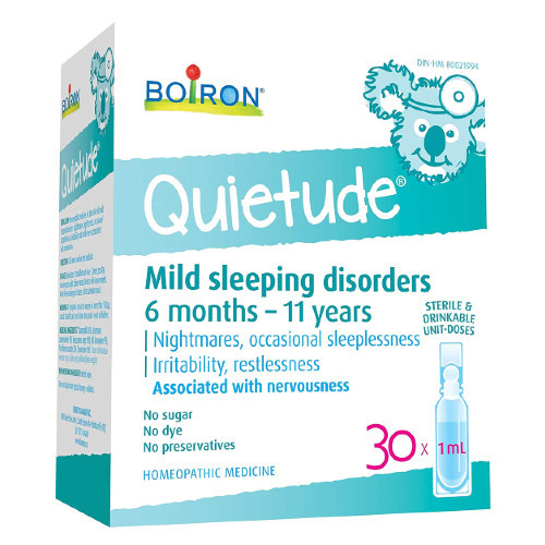 Bioron Quietude for children who have nightmares, occasional sleeplessness, irritability and restlessness.  30 x 1 ml unit doses per box.