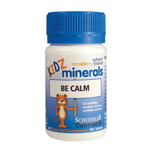 Martin & Pleasant Be Calm Kidz Minerals a homepathic remedy for helping children with symptoms of anxiety, nervousness, irritability, anxiety and sensitivity.  100 tablets.