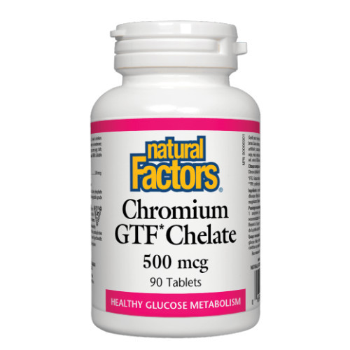 Natural Factors Chromium GTF Chelate for healthy glucose metabolism.  90 tablets.