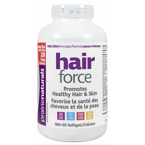 Prairie Naturals Hair Force bonus size 180+20 softgels