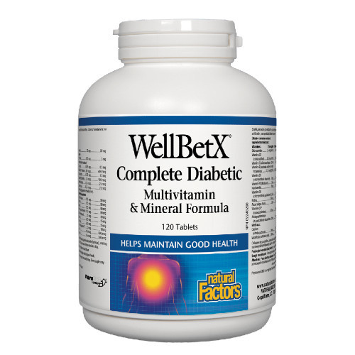 Natural Factors Wellbetx Complete Diabetic designed to maintain healthy blood sugar levels while supplying multivitamin and minerals to maintain good health.  120 tablets.