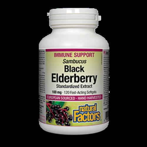 Natural Factors Black Elderberry Immune Support 120 fast-acting softgels