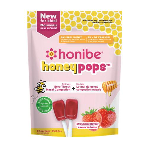 Honibe Honeypops Strawbeery Flavour 8 Lozenges