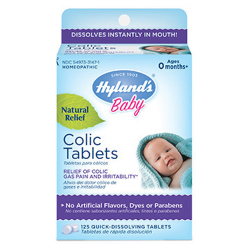 Hyland's Baby Colic Tablets for temporary relief of colic, gas pains and irritability.  125 tablets.