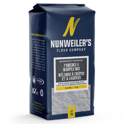Nunweiler's Buckwheat Pancake & Waffle mix. 97% organic. 1 KG or 2.2 LBS.