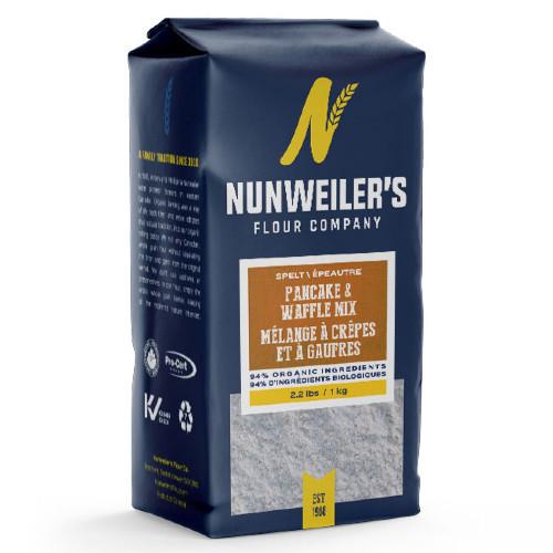 Nunweiler's Spelt Pancake & Waffle mix. 94% organic. 1 KG or 2.2 LBS.