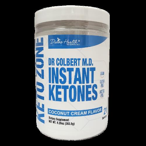 Divine Health Dr. Colbert - Instant Ketones Dietary Supplement Coconut Cream Flavor Keto Zone