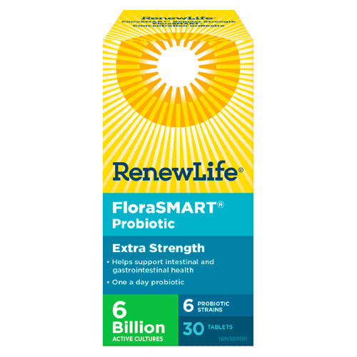 Renew Life FloraSMART Extra Strength probiotic for travellers.  30 tabs.