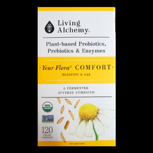 Living Alchemy Your Flora Comfort Plant-Based Probiotics, Prebiotics & Enzymes 120 veg caps
