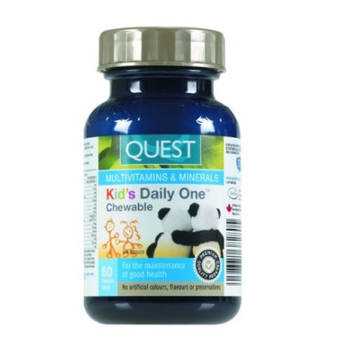 Quest Kid's Daily One chewable multivitamins and mineral supplement.  60 tabs.