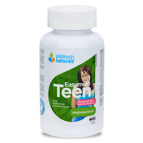 Platinum Naturals Easymulti Teen for young women.  Multivitamin and mineral supplement for teenage girtls.  60 softgels.