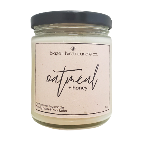Blaze + Birch Candle Co. - Oatmeal + Honey Hand Poured Soy Candle