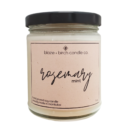 Blaze + Birch Candle Co. Rosemary Mint Hand Poured Soy Candle