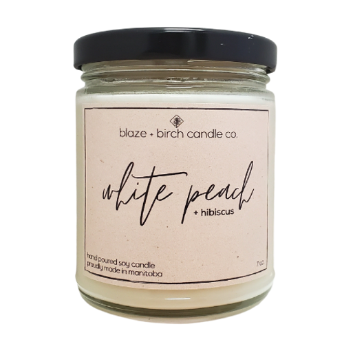 Blaze + Birch Candle Co. - White Peach + Hibiscus Hand Poured Soy Candle