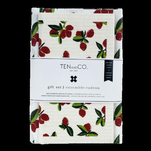 Ten and Co. - Cranberry Tea Towel & Sponge Cloth Gift Set