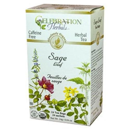 Celebration Herbals absolutely organic sage leaf caffeine free herbal tea.  24 tea bags.