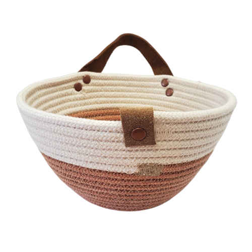 Stonehouse Made - Hand-Woven Dual-Colour Rust Hanging Basket
