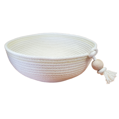 Stonehouse Made - Hand-Woven White Medium Fruit Bowl with Bead