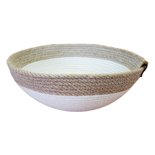Stonehouse Made - Hand-Woven White Medium Bowl with Trim