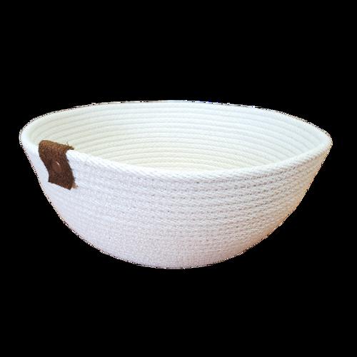 Stonehouse Made  Hand-Woven White Medium Bowl