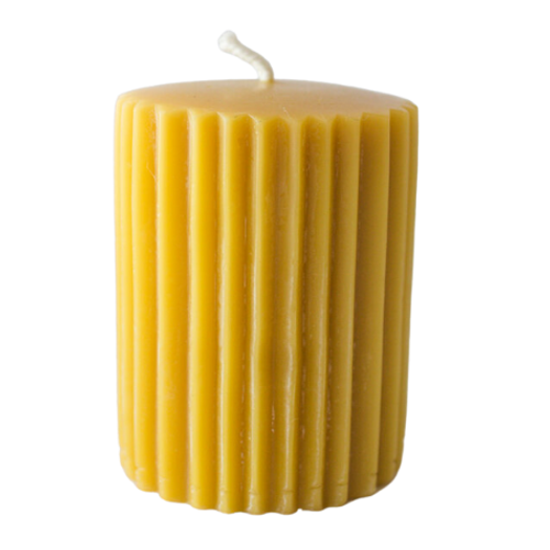 Crescent Acres Natural Gold Beeswax Fluted Pillar Candle