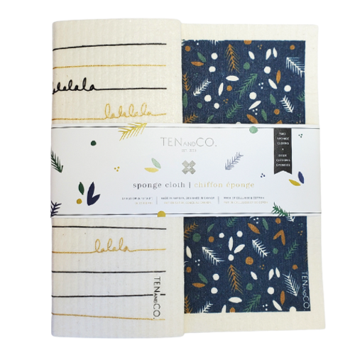 Ten and Co. Pine & Berry with Falala Black & Gold Sponge Cloth Gift Set