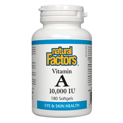 Natural Factors Vitamin A 10,000 IU for eye and skin health. 180 softgels. Canada
