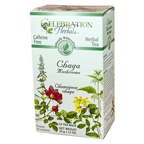 Celebration Herbals Chaga Mushrooms herbal tea.  Caffeine free.  24 tea bags.