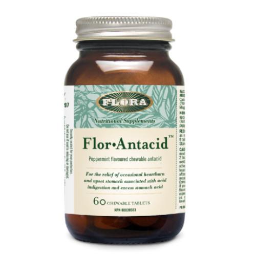 Flora Flor Antacid for heartburn and upset stomach.  60 chewable tablets.