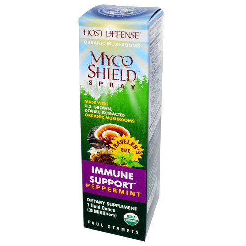 Host Defense Myco Shield Spray, immune support, cinnamon flavour.  30 ml