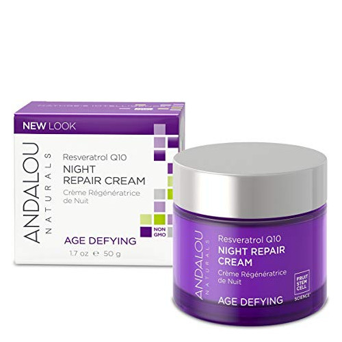 Andalou Naturals Resveratrol Q10 Night Repair Cream age defying, 50 ml.
