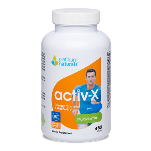 Platinum Naturals Activ-X for men, multivitamin for the active male.  60 softgels.