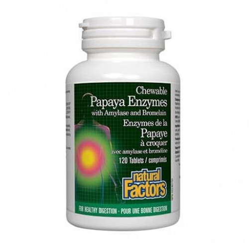 Natural Factors Papaya Enzymes with Amylase and Bromelain 120 chewable tablets