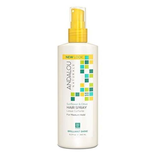 Andalou Naturals Sunflower & Citrus Hair Spray, brillant shine, medium hold, style and finish, 242 ml.