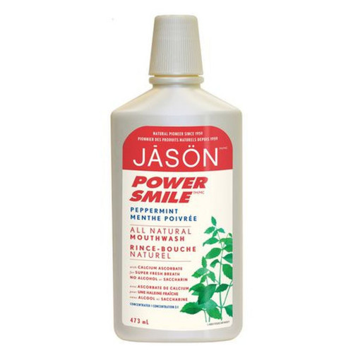 Jason Power Smile Peppermint All Natural Mouthwash, whitens and refreshes.  473 ml.