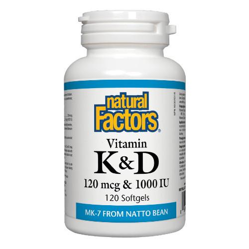 Natural Factors Vitamin K & D.  Osteoporosis, immune support. 120 softgels