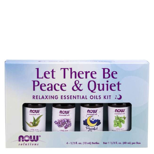 NOW Let There Be Peace & Quiet Relaxing Essential Oil gift pack.